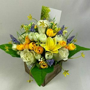 Flower arrangement in Wooden pot all Round Artificial/Silk flowers 25cm FREE PP