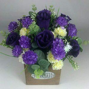 Flower arrangement in Wooden pot all Round Artificial/Silk flowers 23cm FREE PP