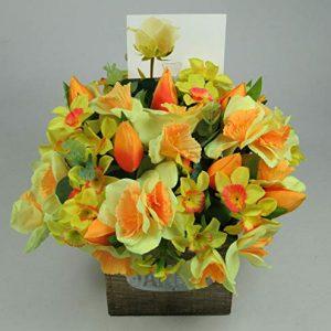 Flower arrangement in Wooden pot all Round Artificial/Silk flowers 22cm FREE PP
