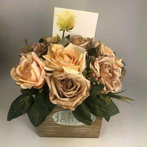 Flower arrangement in Wooden pot all Round Artificial/Silk flowers FREE PP