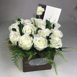 Flower arrangement in Wooden pot all Round Artificial/Silk flowers 20cm FREE PP