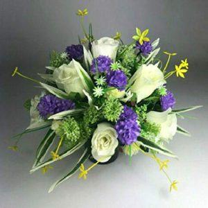 Artificial silk flowers memorial Crem Pot - Grave arrangement FREE PP HandMade