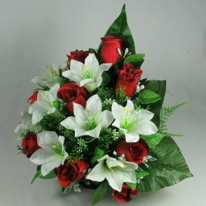 Red rose and lily silk flower flat back grave arrangement