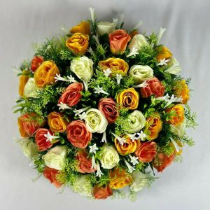 Large peach artificial flower posy pad with 48 roses