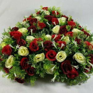 Artificial Grave flowers/memorial Wreath Grave arrangement All Round Open Heart