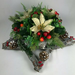 Christmas wooden star with silk gold poinsettias