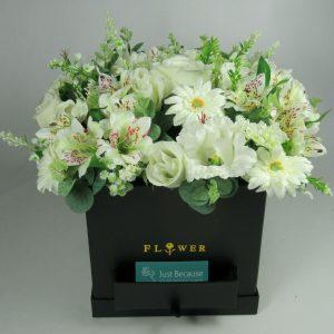 Flower arrangement in Black box all Round Artificial/Silk flowers 30cm FREE PP
