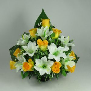 Artificial silk flower Crem Pot Flat back  - Grave arrangement FREE P&P HandMade