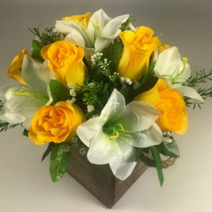 Flower arrangement in Wooden pot all Round Artificial/Silk flowers 20cm