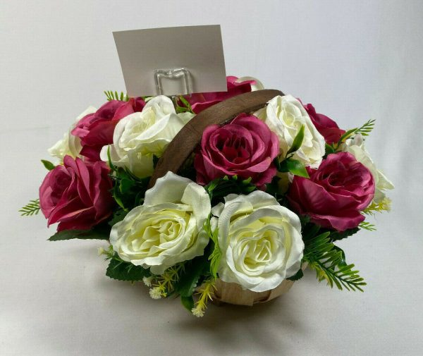 Artificial Basket Trug Arrangement - Wooden Trug Cerise/White Roses Free PP